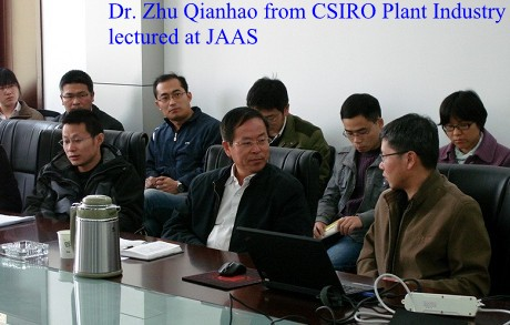 Dr. Zhu Qianhao from CSIRO Plant Industry lectured at JAAS
